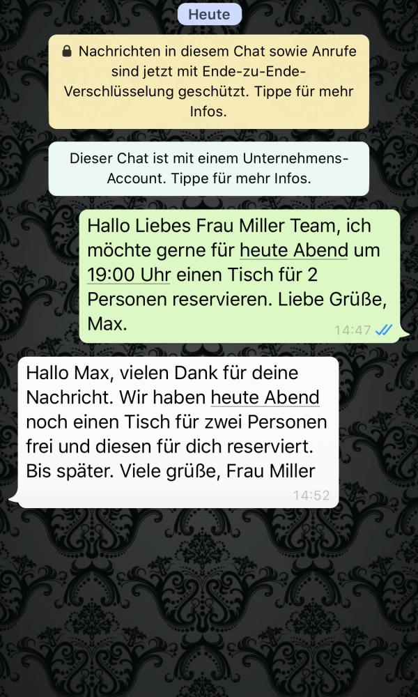 WhatsApp Chat, Frau Miller